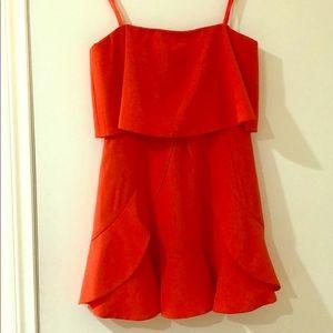 BCBG coral orange red mini strapless dress sz 0